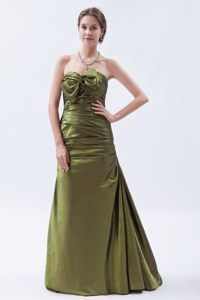 Strapless Prom Cocktail Dress in Olive Green with Bow and Ruches