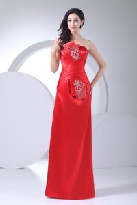 Simple Beaded Prom Cocktail Dress Strapless with Ruches for Ladies