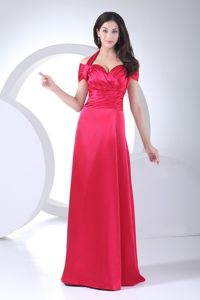 Sexy Red Floor-length Prom Gown Dress Halter Top with Cool Back