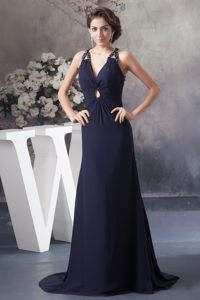 Beaded Prom Evening Dress Brush Train with Criss Cross Back