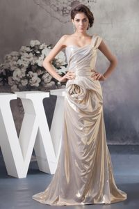 New Sweep Train Single Shoulder Prom Formal Dress in Champagne