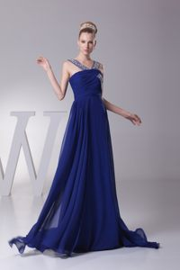 Beaded Straps Brush Train Ruches Prom Gown Dress by Chiffon