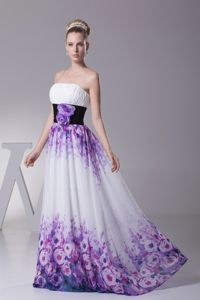 Multi-colored Strapless Print Debs Dress Hand Made Flower Sash