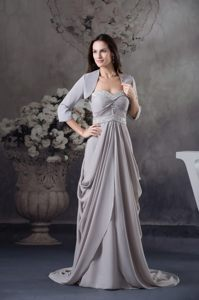 Grey Court Train Ruffles Prom Dresses Beading 3/4-length Sleeves