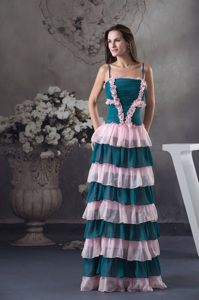 Two-toned Straps Ruched Prom Dress with Ruffled Layers