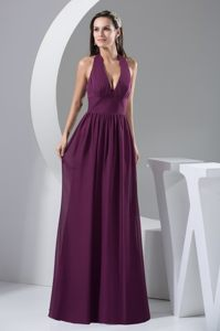 Floor-length Halter Top Plunging Neckline Chiffon Prom Gown Dress