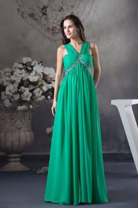 Dressy Green Straps Chiffon Prom Dress with Beading for Celebrity