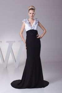 V-neck Ruffles Beaded Prom Gown in White and Black Sweep Train