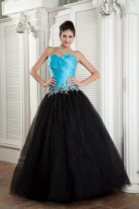 New Baby Blue and Black Ruched Appliqued Prom formal Dress