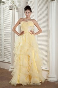 Empire Sweetheart Ruffled Light Yellow Dress for Prom under 150