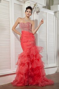 Pretty Mermaid Coral Red Organza Ruffled Beaded Prom Dress