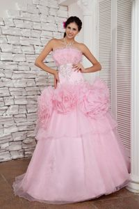 A-line Strapless Beaded Prom Dress with Big Flowers Decorate