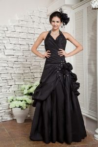 Halter top Black Beaded Prom Dresses with Handmade Flowers