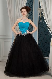 2013 New Arrival A-line Ruched Blue and Black Prom Party Dress