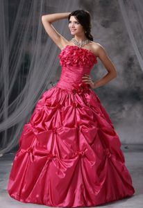 Breathtaking Coral Red Ball Gown Pick Ups formal Prom Dress