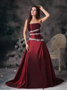 Strapless Appliqued Wine Red Prom Dress in West Midlands