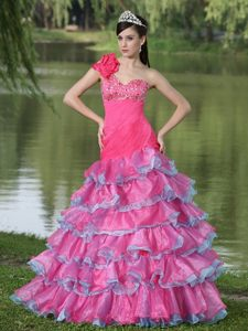 One Shoulder Flowers Beaded Ruffled Hot Pink Dress for Prom