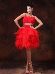 Plus Size Asymmetrical Style Strapless Red Short Prom Dress