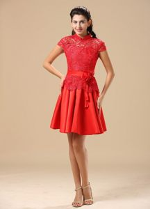 Traditional High-neck Cap Sleeves Red Lace Prom Dress for Girls