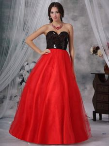 Cheap A-line Red and Black Prom Evening Dress with Paillette