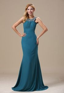 Beaded Scoop Prom Holiday Dress Chiffon Floor-length with the Back out