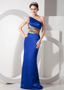 Exclusive Single Shoulder Floor-length Prom Holiday Dress Leopard Print