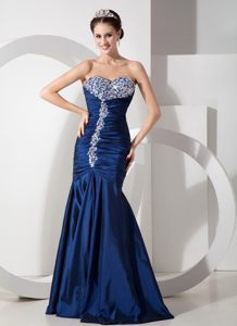 Beautiful Sweetheart Beaded Ruches Prom Gowns Mermaid in Navy Blue