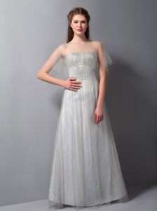 Floor-length Gray Prom Bridesmaid Dress with Tulle And Taffeta in Serra
