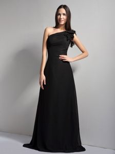Single Shoulder Black Prom Cocktail Dresses A-line Chiffon Floor-length