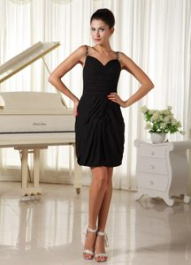 Black Sweetheart Mini-length Prom Gown Dress Beaded Straps in Vogue
