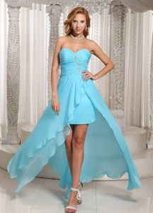 High-low Prom Homecoming Dresses Beading Sweetheart in Aqua Blue