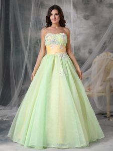 Sweetheart Appliques Prom Cocktail Dresses with Sash in Yellow Green