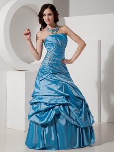 Romantic Strapless Dress for Prom Queen Beaded Ruches Floor-length