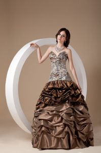 Sweetheart Leopard Bodice Prom Graduation Dress Pick-ups Ball Gown