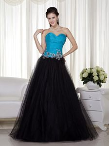 Gorgeous Ruched Bodice Prom Party Dress Appliques Taffeta And Tulle