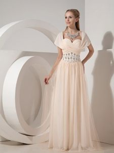 Latest Champagne Beaded Prom Graduation Dress Chiffon Floor-length