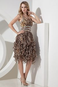 Leopard Beaded Prom Homecoming Dresses Single Shoulder High-low