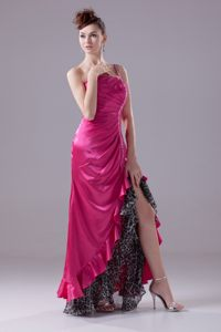 High-low one Shoulder Beaded Prom Gowns Leopard with the Back out