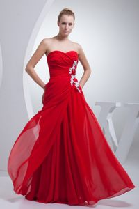 Red Floor-length Prom Party Dresses Ruches And Appliques Side Zipper