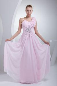 Princess Baby Pink Straps Prom Dresses Beading Floor-length in Chiffon