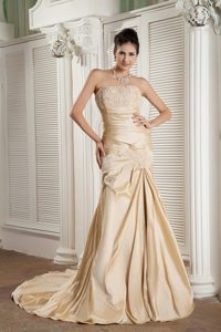 Champagne Strapless Prom Homecoming Dresses Appliques Court Train