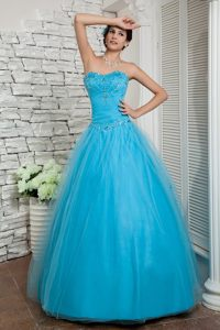 Cheap Beaded Prom Holiday Dresses Sweetheart Tulle with Floor-length