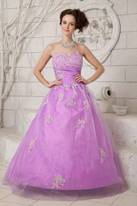 A-line Sweetheart Appliqued Lavender Prom Gown Dress Suffolk