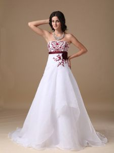 A-line Strapless White Prom Dress with Red Appliques Court Train