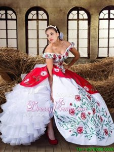 White and Red Organza and Taffeta Lace Up Off The Shoulder Cap Sleeves Floor Length Quinceanera Dress Embroidery and Ruffled Layers