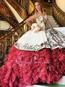 Luxury Sleeveless Brush Train Lace Up With Train Embroidery and Ruffles Vestidos de Quinceanera
