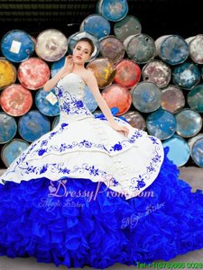 Discount Organza and Taffeta Sweetheart Sleeveless Brush Train Lace Up Embroidery and Ruffles Quinceanera Gown inWhite and Blue