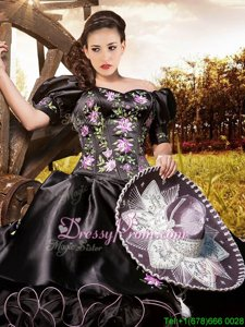 Black Short Sleeves Embroidery and Ruffles Floor Length Quinceanera Dress
