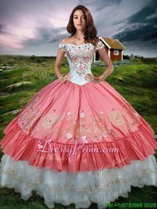 Hot Sale Ball Gowns Ball Gown Prom Dress Watermelon Red Off The Shoulder Organza and Taffeta Sleeveless Floor Length Lace Up