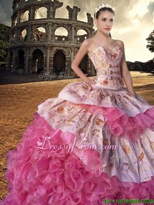 Top Selling White and Pink And White Organza Lace Up Sweetheart Sleeveless With Train Quinceanera Dress Court Train Embroidery and Ruffles